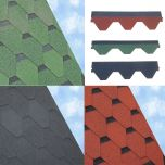 ARS Hexagonal Roof Felt Shingles 3 Square Metre Pack Black / Green / Red - from About Roofing Supplies Limited