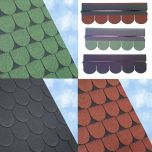 ARS Scalloped Roof Felt Shingles 3 Square Metre Pack Black / Green / Red - from About Roofing Supplies Limited