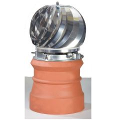 Brewer Aspirotor Chimney Cowl Model 200 Anti Downdraft Cowl Terracotta / Stainless Steel - from About Roofing Supplies Limited